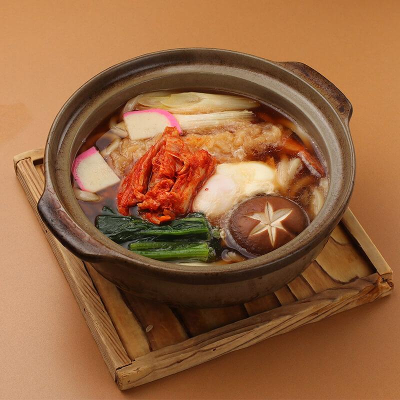 新篠津名物造り家のキムチ「炎の華」使用 鍋焼きうどん